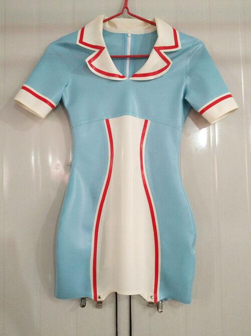 Latex Rubber Nurse Skirt Light bluee and White Sexy Short Dress Skirt Size S-XXL