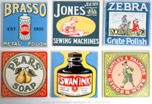 6x-6-034-ceramic-WALL-TILES-Vintage-Enamel-Advert-Signs-Pears-Soap-Brasso-Swan-Ink