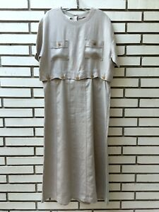 876af5a43263 Linda Lundstrom Linen Midi Dress 2-Piece Heavy Weight Linen Size 10 ...