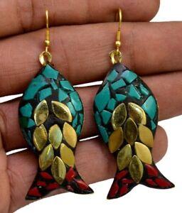 Tibetan-Designer-Jewelry-Earrings-Nepal-Fashion-Banjara-Turquoise-Brass-BTE707
