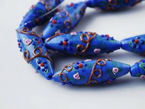 2pcs-Handcraft-Flowers-Lampwork-Glass-Oval-Loose-Spacer-Beads-43x15mm-Royal-Blue