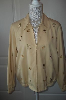 Size 14p Coats, Jackets & Vests Alfred Dunner Petite Women's Ls Embroidered Yellow Zip-up Jacket Women's Clothing