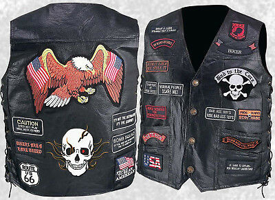Mens Black Leather Motorcycle Vest Waistcoat With 23 Biker Patches Eagle Amp Skull Ebay