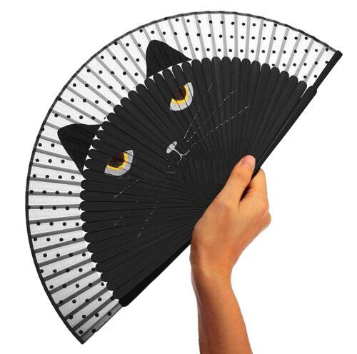 FD4437 Japanese Cat Kitten Silk Bamboo Hand Fan Cartoon Folding Fan Party Gift