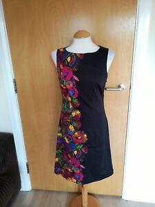 Ladies-Dress-Size-10-Black-Floral-Shift-Smart-Party-Evening-Wedding-Races