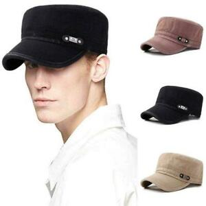 174ba1ba6 Details about Mens Washed Cotton Flat Top Hat Outdoor Sunscreen Military  Army Peaked Dad Cap 2