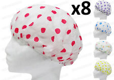 8 ELASTICATED WATERPROOF SHOWER CAPS WATER BATH HAIR PROTECTOR COVERS CAP WOMENS