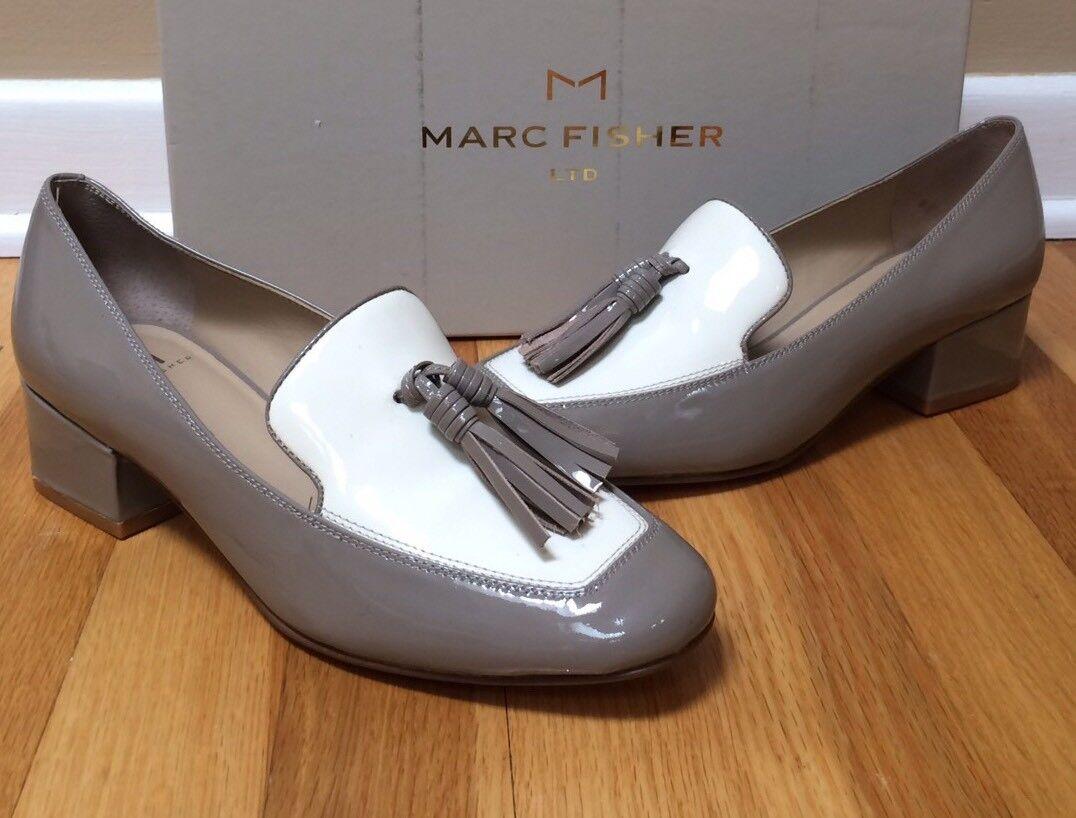 MARC FISHER 'Keisha' Gray/Ivory Patent Leder Tassel Loafer 6.5M NEU In Box