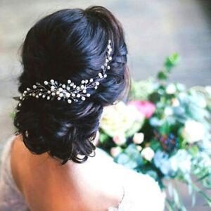 Haarschmuck-Haarkamm-Braut-Hochzeit-Diademe-Jewerly-Perle-Blume-Neu