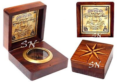 3/'/' Shiny Brass Made For Royal Navy London Compass with Antique Brass Wooden Box