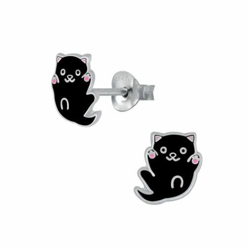 925 Sterling Silver Cat Kitten Playful Black Pink Paw Kids Girls Stud Earrings