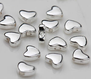 30-Tibetan-Silver-Heart-Spacer-Bead-Charm-Jewelry-Finding-Making-Craft-5x6mm-DIY