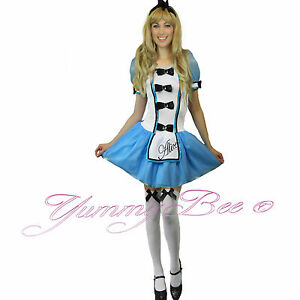 Fancy-Dress-Costume-Alice-Wonderland-Storybook-Ladies-Womens-Plus-Size-Outfit-UK