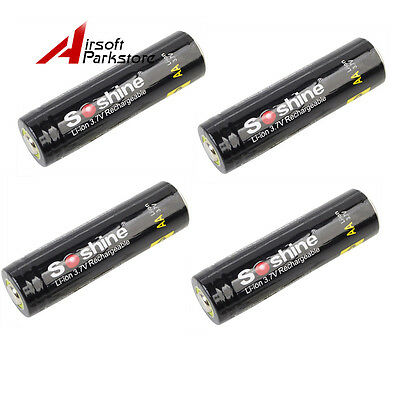 4pcs Soshine 3.7V 800mAh 14500 Protected Rechargeable Li-ion Battery W/Case
