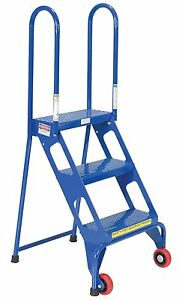 3 Step Folding Ladder Wheels Steel Guardrails Industrial