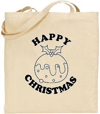 Happy Weihnachtspudding Groß Baumwolle Einkaufstasche Weihnachten Bag Geheim