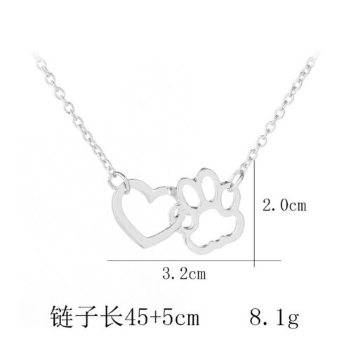 Silver Pet Lover Dog Cat Paw Print Tag Rescue Pendant Chain Necklace Jewelry New