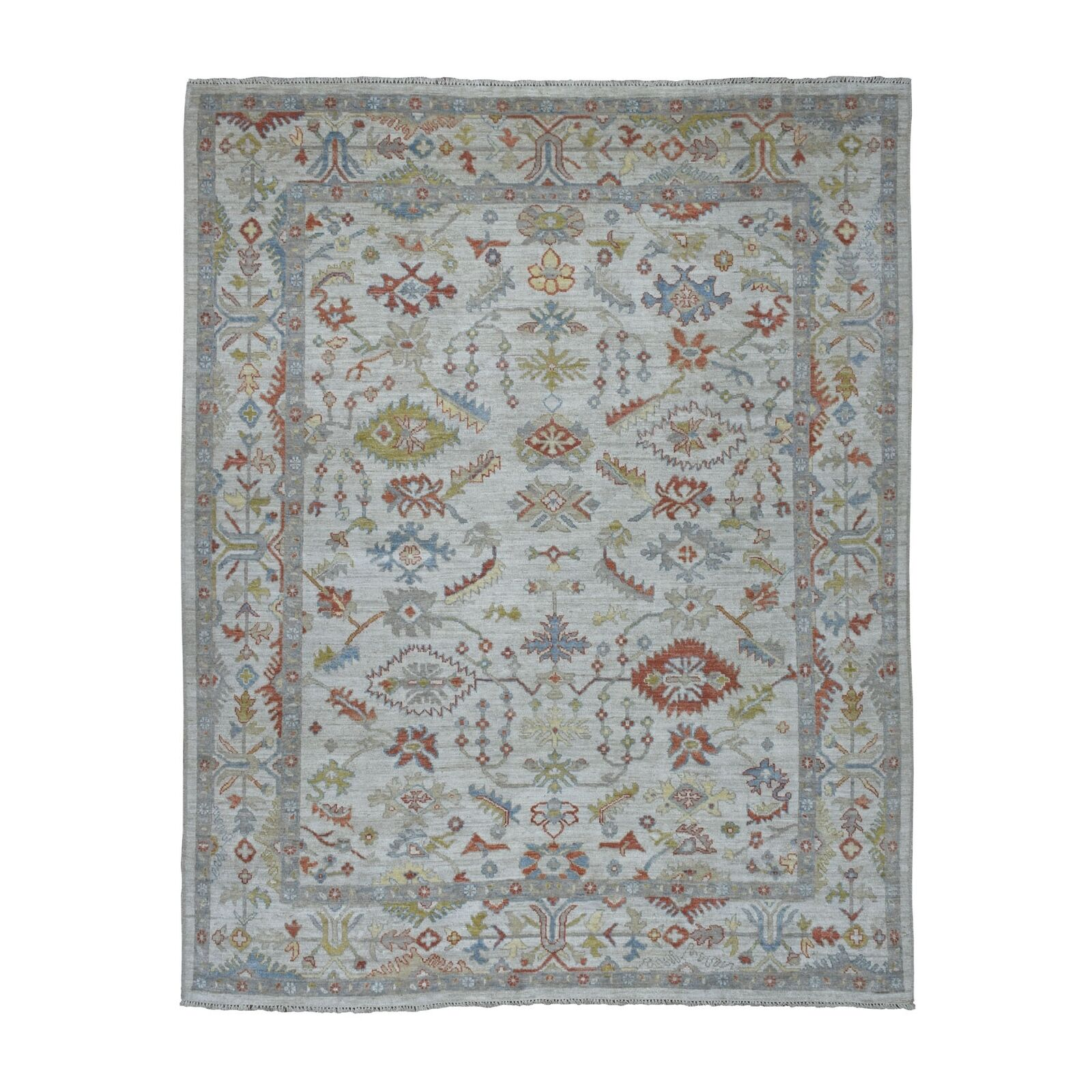 7 10x9 5 Ivory Angora Oushak Pure Wool Hand Knotted Oriental Rug R52652 For Sale