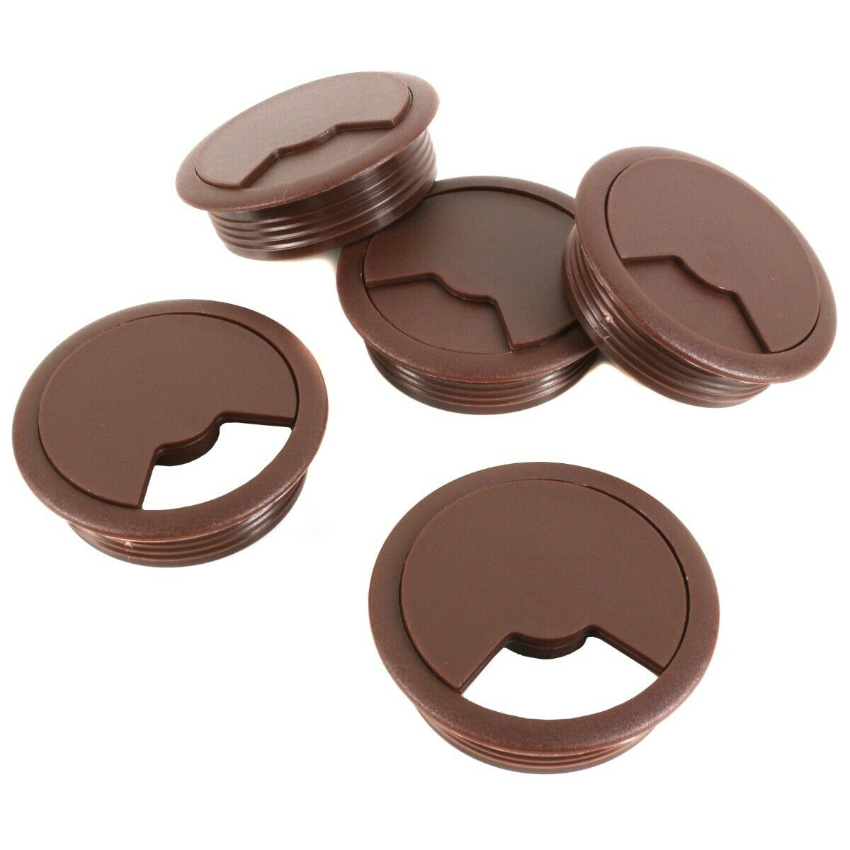 5x OFFICE DESK GROMMETS 60mm Small Surface Cable Outlet Hole Cover Dark Brown UK