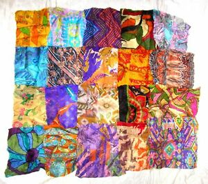 LOT-PURE-SILK-Vintage-Sari-Fabrics-REMNANT-16-pcs-8-034-SQUARES-Multi-color-CRAFT