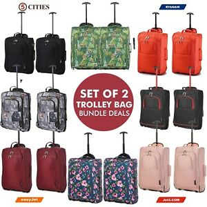 56a110dc7 Set Of 2 Piece Ryanair Approved Hand Luggage Cabin Trolley Bag ...