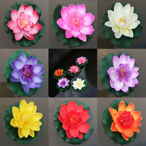 Artificial-Water-lily-Floating-Flower-Lotus-Home-Yard-Pond-Fish-Tank-Decor-10cm
