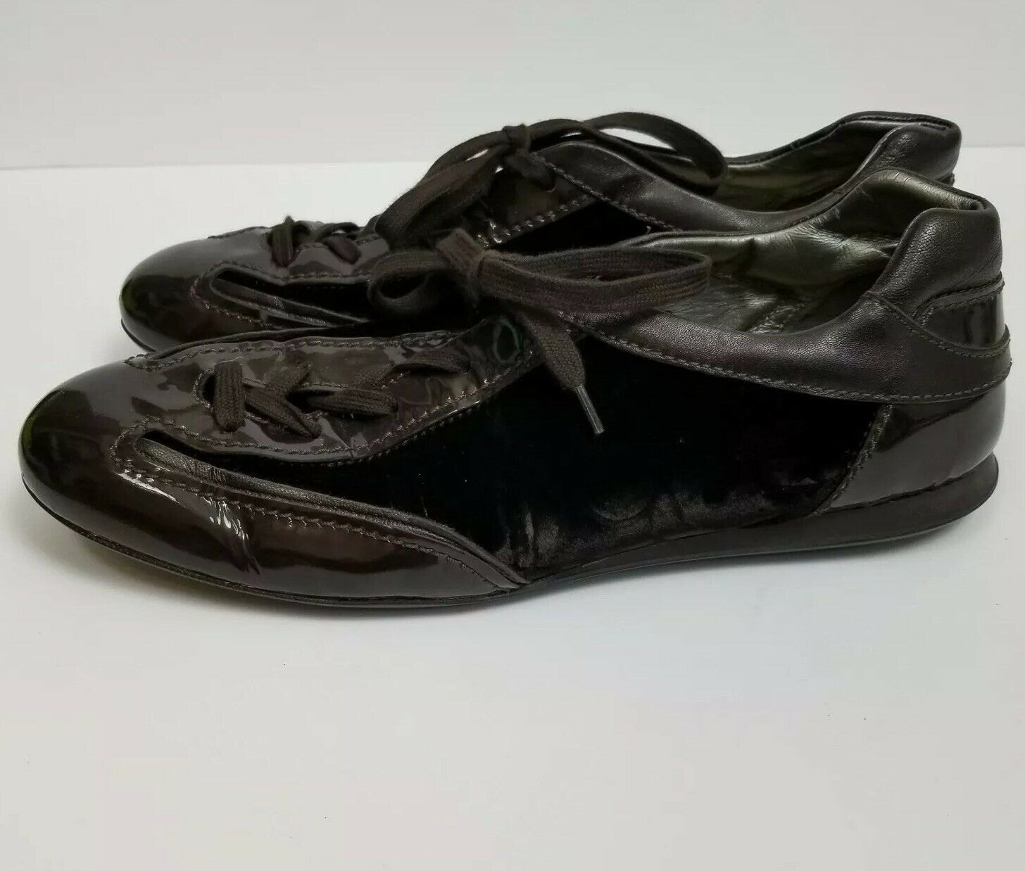 Hogan Olympia Olympia Olympia Brown Velvet Patent Sneakers Trainer shoes size 40 540885