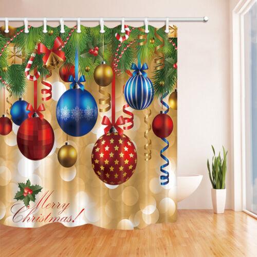 Xmas Ball and christmas tree Waterproof Fabric Shower Curtain Bathroom Mat Hooks