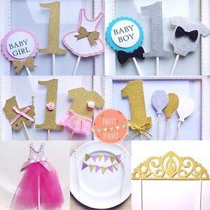 Outstanding 1St Glitter Gold Silver Baby Boy Girl Shower Birthday Cake Topper Funny Birthday Cards Online Inifodamsfinfo