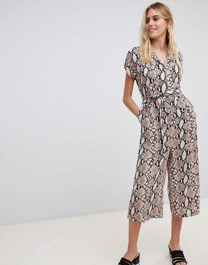NEW LOOK TIE WAIST BELTED WIDE CROPPED LEG CULOTTE SNAKE PRINT JUMPSUIT