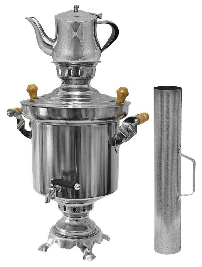 Russo Turco Acciaio Inox Carbone Legno Samowar 5 Litri + 0,9 L Caraffa Del Tè