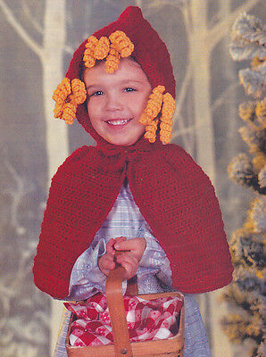 Crochet Pattern ~ GIRLS LITTLE RED RIDING HOOD COSTUME Halloween ~ Instructions