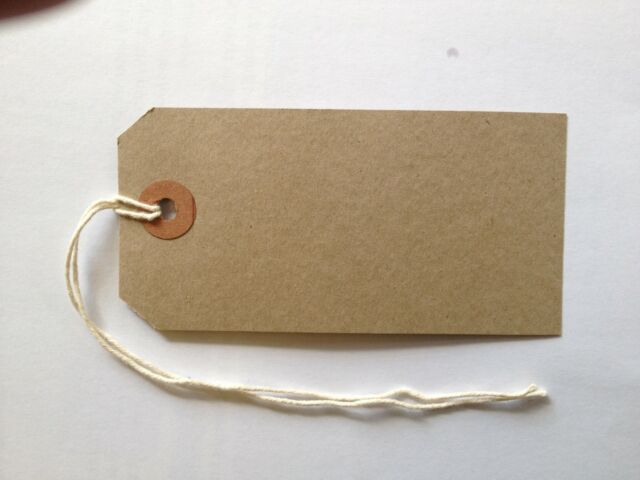 50 Quality Merit Parcel Strung Tags - Buff - 96mm x 48mm Tie On Luggage Labels