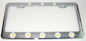 WHITE DAISIES DAISY FLOWER Metal License Plate Frame Tag Holder Two Holes