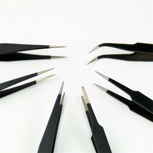 6 Style Brucelle Pincette Pince Tweezer Tenaille Courbé Droit Antistatique Outil