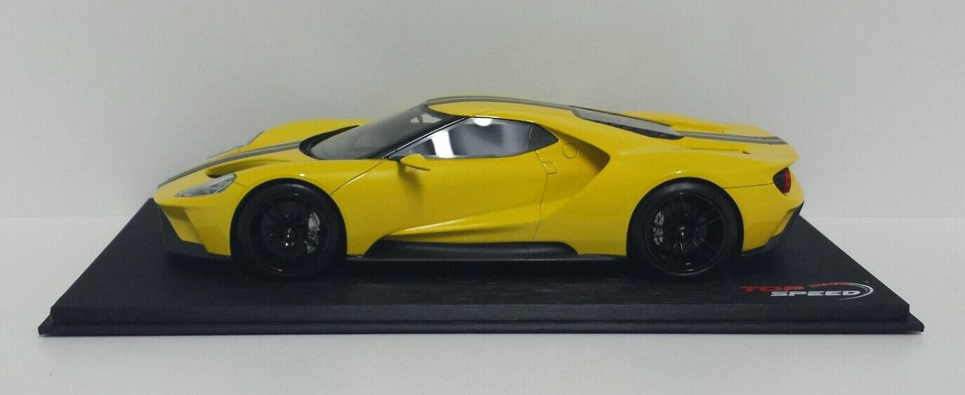 MODELLINO 1 18 FORD GT TRIPLE jaune LOS ANGELES 2015 TRUE SCALE TOP SPEED NEW