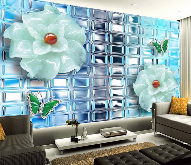 3D Glänzende JadeBlaumen 74 Tapete Wandgemälde Tapete Tapeten Bild Familie DE  | Bevorzugtes Material  | Elegante Und Stabile Verpackung  | Haltbarer Service