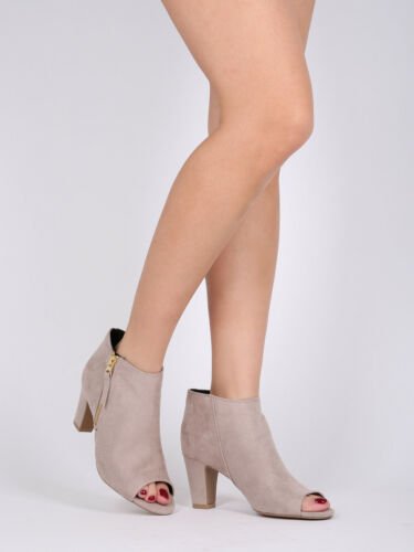 18147 Women Faux Suede Stretch Peep Toe Riding Cigar Heel Ankle Bootie