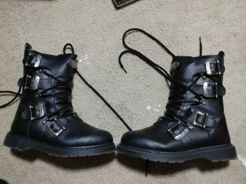 DEMONIA BOLT-265 Men's Combat Black Buckles Lace U