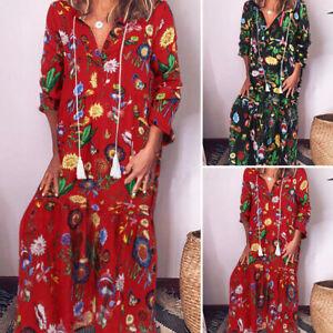 Mode-Femme-Col-V-Manche-Longue-Floral-Loose-Robe-Dresse-Long-Maxi-Grande-Taille