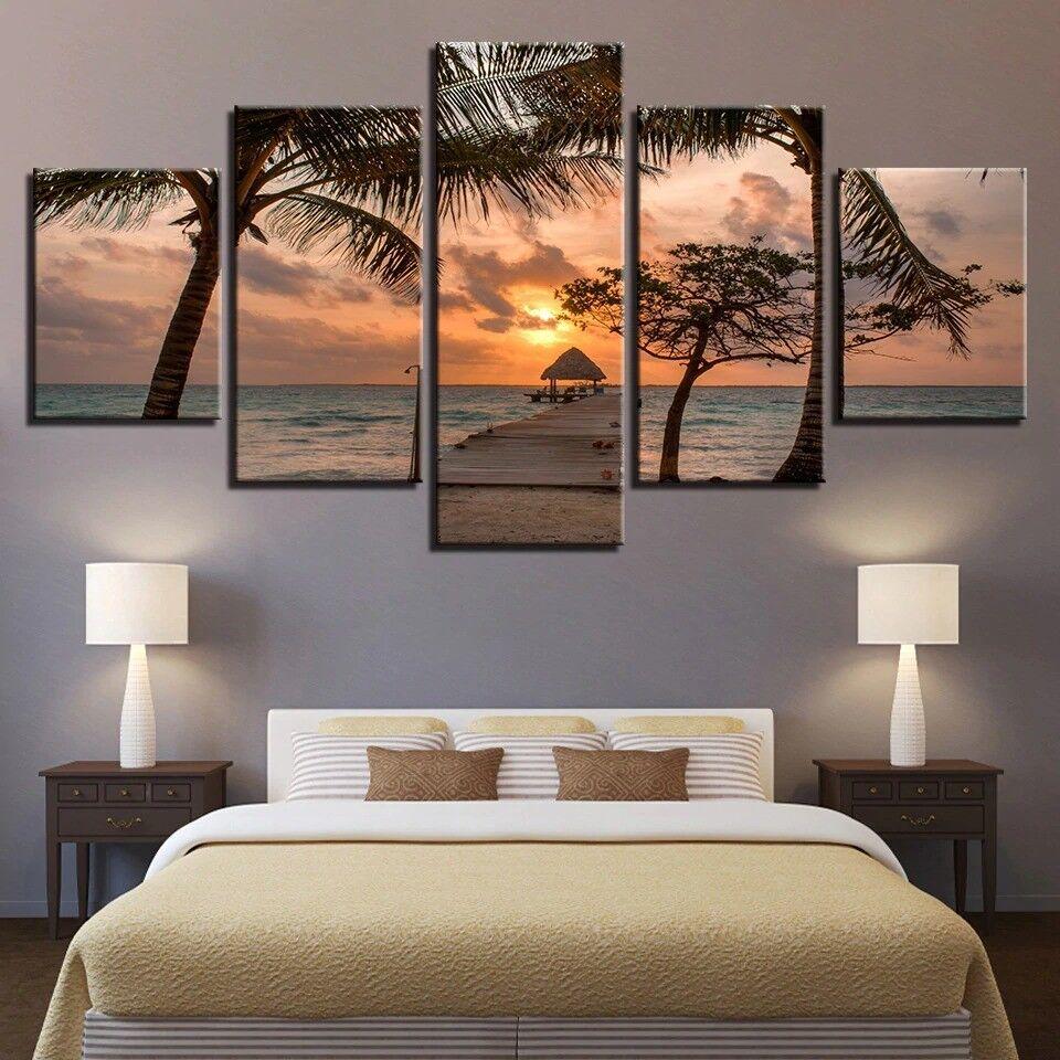 Coconut Tree Sunset Seascape 5 Panel Canvas Print Wall Art