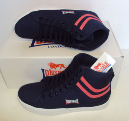 Lonsdale Ladies Trainers Retro Hi Top Navy Pink New Lace Up Shoes Size 3 4 5
