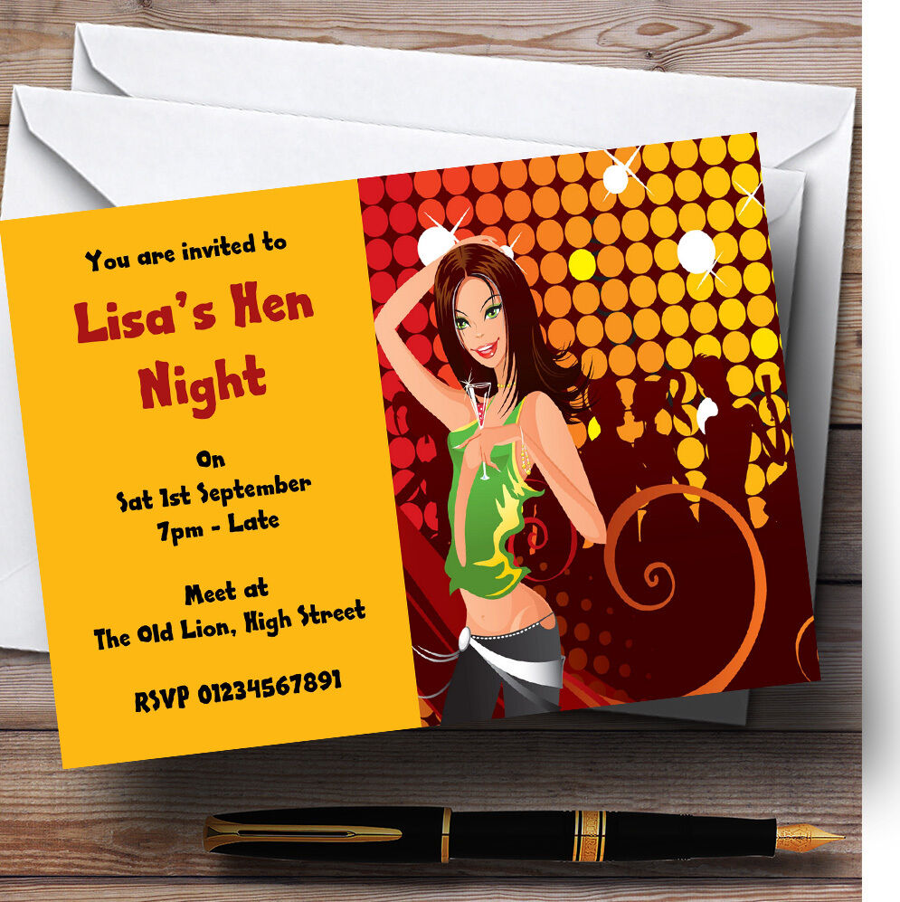 Girls Night Out Personalised Hen Do Night Party Invitations - Hen8