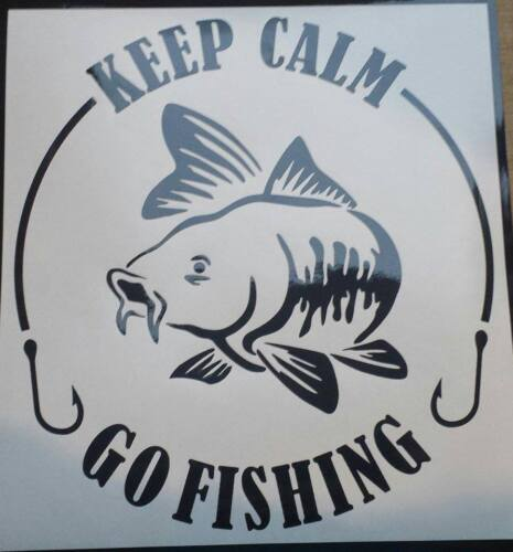 vinyl car sticker decals graphics in choice of 54 colours Keep calm go fishing