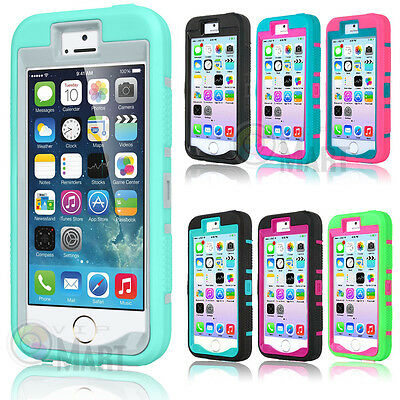 For iPhone SE 5 5S Shockproof Hybrid Rugged Rubber Silicone Cover Case Skin
