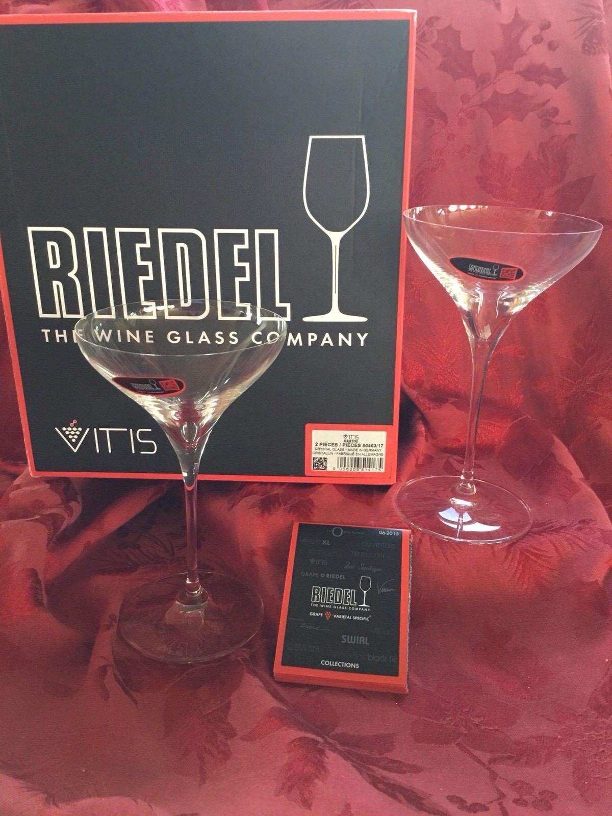Nuevo En Caja Nuevo Impecable Exquisito Riedel Cristal Vitis par Vasos de Martini