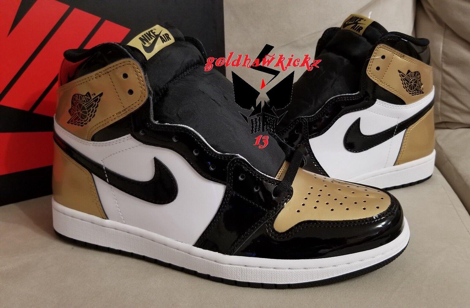 2018 Nike Air Jordan 1 High OG NRG Gold Toe Black White 861428 007 like mike
