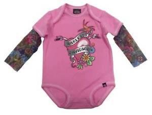 Harley-Davidson-Baby-Girls-039-Glitter-Infant-Creeper-Mesh-Tattoo-Sleeves-3010611