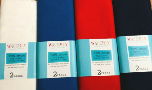 """Fabric cotton 2 yards x 44/"""" wide new Waverly Inspirations red navy white"""