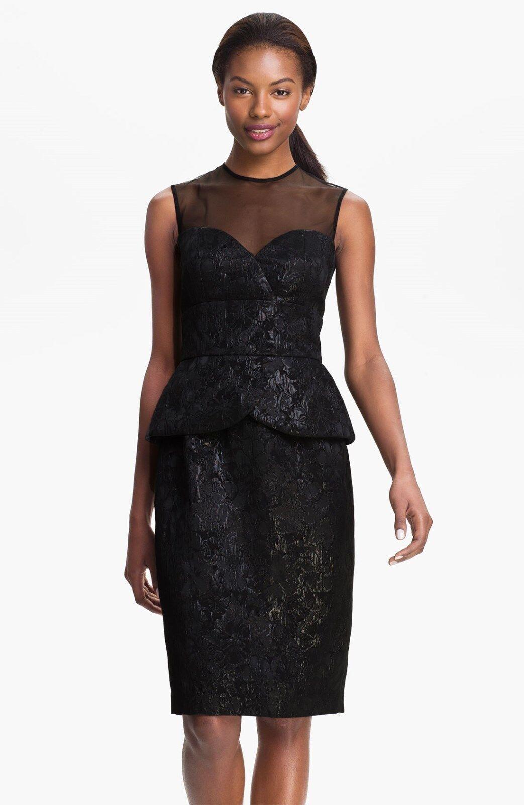 Maggy London Sleeveless Illusion Yoke Peplum Dress ( size 2)